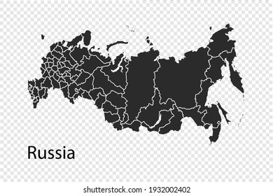 Russia map vector, black color. isolated on transparent background