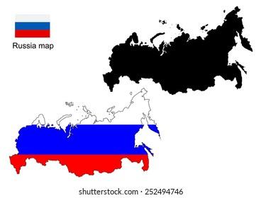 Russia map vector, Russia flag vector