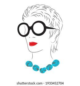 Russia, March, 2021- Iris Apfel on white. American businesswoman, interior designer and fashion icon isolated. Editorial vector illustration.