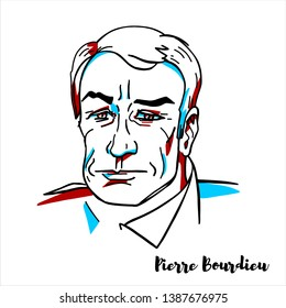 RUSSIA, MOSCOW - April, 01, 2019: Pierre Bourdieu engraved vector portrait with ink contours. French sociologist, anthropologist, philosopher and public intellectual.