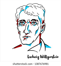 RUSSIA, MOSCOW - April, 06, 2019: Ludwig Wittgenstein engraved vector portrait with ink contours. Austrian philosopher who worked primarily in logic, the philosophy of mathematics, mind and language.