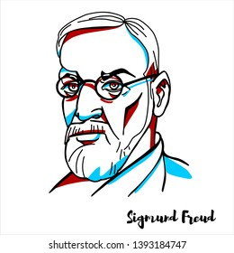 RUSSIA, MOSCOW - April, 07, 2019: Sigmund Freud engraved vector portrait with ink contours. Austrian neurologist and the founder of psychoanalysis, the dialogue between a patient and a psychoanalyst.