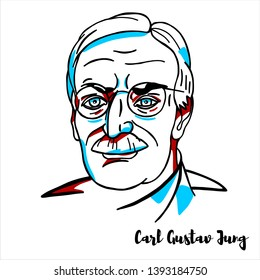 RUSSIA, MOSCOW - April, 08, 2019: Carl Gustav Jung engraved vector portrait with ink contours. Swiss psychiatrist and psychoanalyst who founded analytical psychology.
