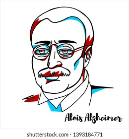 """RUSSIA, MOSCOW - April, 16, 2019: Alois Alzheimer engraved vector portrait with ink contours. German psychiatrist and neuropathologist, the first published case of """"presenile dementia"""""""