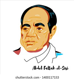 RUSSIA, MOSCOW - April, 24, 2019: Abdel Fattah el-Sisi engraved vector portrait with ink contours. Egyptian politician who is the sixth and current President of Egypt, in office since 2014.
