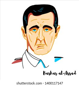 RUSSIA, MOSCOW - April, 26, 2019: Bashar al-Assad engraved vector portrait with ink contours. Syrian politician who has been the President of Syria since 17 July 2000.