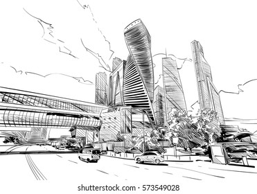Russia. Moscow city. Hand drawn sketch. Business Center. Vector illustration.