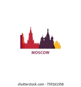 Russia Moscow city panorama view landscape flat modern color icon logo