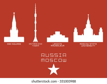 Russia Moscow city shape silhouette icon set - Red Square, Ostankino Tower, Lenin's Mausoleum, State University