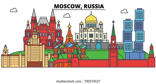 Russia, Moscow. City skyline, architecture, buildings, streets, silhouette, landscape, panorama, landmarks. Editable strokes. Flat design line vector illustration concept. Isolated icons set