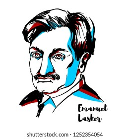 RUSSIA, MOSCOW - DECEMBER 06, 2018: Emanuel Lasker engraved vector portrait with ink contours. German chess player, mathematician, and philosopher who was World Chess Champion for 27 years.