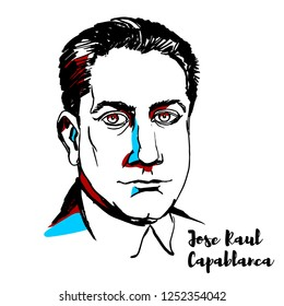 RUSSIA, MOSCOW - DECEMBER 07, 2018: Jose Raul Capablanca engraved vector portrait with ink contours. Cuban chess player who was world chess champion from 1921 to 1927.