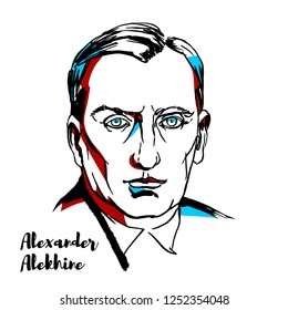 RUSSIA, MOSCOW - DECEMBER 07, 2018: Alexander Alekhine engraved vector portrait with ink contours.Russian and French chess player and the fourth World Chess Champion.
