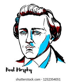 RUSSIA, MOSCOW - DECEMBER 07, 2018: Paul Morphy engraved vector portrait with ink contours. American chess player.