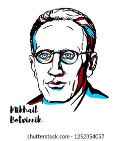 RUSSIA, MOSCOW - DECEMBER 07, 2018: Mikhail Botvinnik engraved vector portrait with ink contours. Soviet and Russian chess grandmaster and World Chess Champion for most of 1948 to 1963.