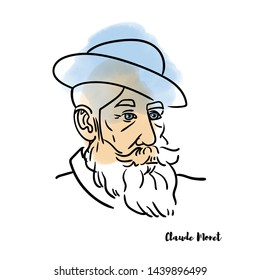 RUSSIA, MOSCOW - JUNE 29, 2019: Claude Monet vector hand drawn watercolor portrait with ink contours. French painter, a founder of French Impressionist painting.