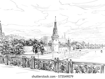 Russia. Moscow. Kremlin view from the bridge. Hand drawn vector illustration.