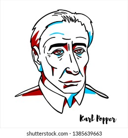 RUSSIA, MOSCOW - March, 21, 2019: Karl Popper engraved vector portrait with ink contours. Austrian-British philosopher and professor.