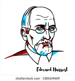RUSSIA, MOSCOW - March, 23, 2019: Edmund Husserl engraved vector portrait with ink contours. German philosopher who established the school of phenomenology.