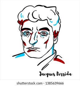 RUSSIA, MOSCOW - March, 28, 2019: Jacques Derrida engraved vector portrait with ink contours. French philosopher best known for developing a form of semiotic analysis known as deconstruction.
