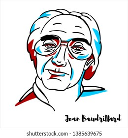 RUSSIA, MOSCOW - March, 31, 2019: Jean Baudrillard engraved vector portrait with ink contours.  French sociologist, philosopher, cultural theorist, political commentator, and photographer.