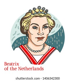 RUSSIA, MOSCOW - May, 11, 2019: Beatrix of the Netherlands colored vector portrait with black contours. Queen of the Netherlands from 30 April 1980 until her abdication on 30 April 2013.