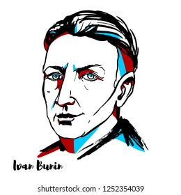 RUSSIA, MOSCOW - NOVEMBER 11, 2018: Ivan Bunin engraved vector portrait with ink contours. The first Russian writer awarded the Nobel Prize for Literature.
