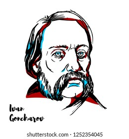 RUSSIA, MOSCOW - NOVEMBER 12, 2018: Ivan Goncharov engraved vector portrait with ink contours. Russian novelist best known for his novels A Common Story, Oblomov and The Precipice.