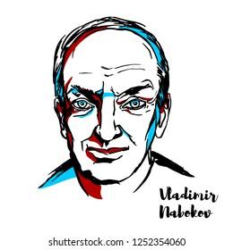 RUSSIA, MOSCOW - NOVEMBER 19, 2018: Vladimir Nabokov engraved vector portrait with ink contours. Russian-born novelist, poet, translator and entomologist.