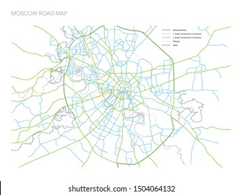 RUSSIA MOSCOW ROAD MAP VECTOR