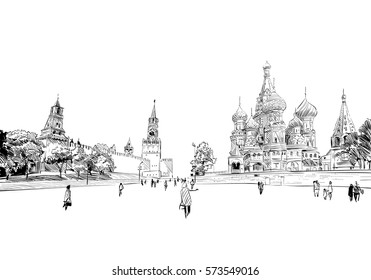 Russia. Moscow.Red square St. Basil's Cathedral.Russia. Hand drawn vector illustration.