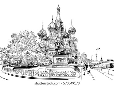 Russia. Moscow.Red square St. Basil's Cathedral. Hand drawn vector illustration.