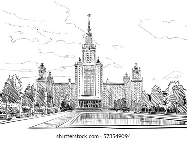 Russia. Moscow State University sketch. Hand drawn vector illustration.