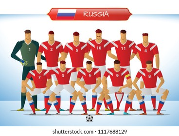 Russia National Football Team for International Tournament. vector illustration.