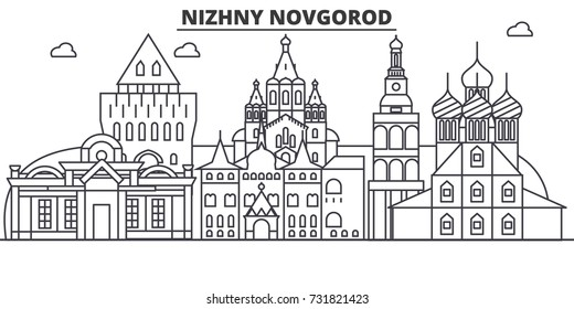 Russia, Nizhny Novgorod architecture line skyline illustration. Linear vector cityscape with famous landmarks, city sights, design icons. Landscape wtih editable strokes