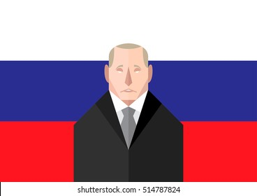 RUSSIA - November 13, 2016: A vector illustration of Russian leader, Vladimir Putin standing in front of the national flag representing his leadership over the country.