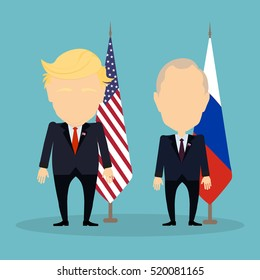 Russia November. 21, 2016 Donald Trump and Vladimir Putin standing together. Russian and american flags.