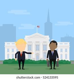 Russia November, 27 2016 Donald Trump kicking Barack Obama off the White House. Donald Trump. Barack Obama.
