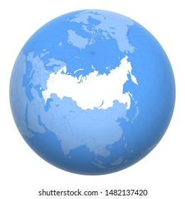 La Russie sur la planète. La Terre était centrée sur le lieu de la Fédération de Russie.Carte de la Russie. Inclut la couche avec les capitales.
