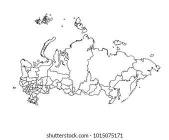 russia outline map. detailed isolated vector country border contour map on white background.