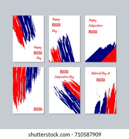 Russia Patriotic Cards for National Day. Expressive Brush Stroke in Flag Colors on white card background. Vector Greeting Card.