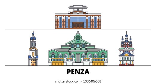 Russia, Penza flat landmarks vector illustration. Russia, Penza line city with famous travel sights, skyline, design.
