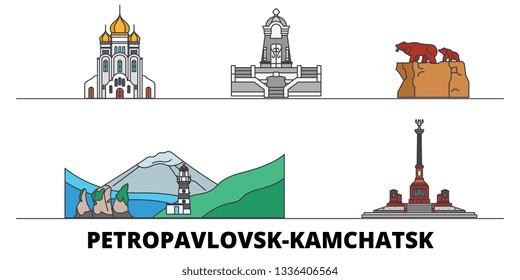 Russia, Petropavlovsk Kamchatsk flat landmarks vector illustration. Russia, Petropavlovsk Kamchatsk line city with famous travel sights, skyline, design.