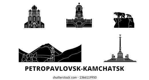 Russia, Petropavlovsk Kamchatsk flat travel skyline set. Russia, Petropavlovsk Kamchatsk black city vector illustration, symbol, travel sights, landmarks.