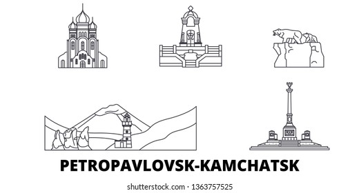Russia, Petropavlovsk Kamchatsk line travel skyline set. Russia, Petropavlovsk Kamchatsk outline city vector illustration, symbol, travel sights, landmarks.