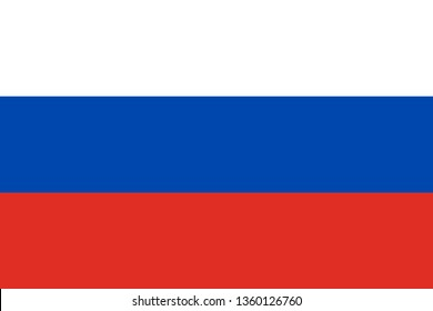 Russia or Russian Federation RU official national flag sign icon flat vector