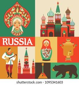 Russia. Russian folk art. Flat design. Vector illustration.