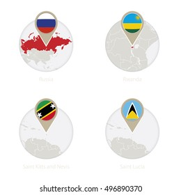 Russia, Rwanda, Saint Kitts and Nevis, Saint Lucia map and flag in circle. Vector Illustration.