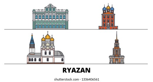 Russia, Ryazan flat landmarks vector illustration. Russia, Ryazan line city with famous travel sights, skyline, design.