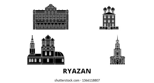 Russia, Ryazan flat travel skyline set. Russia, Ryazan black city vector illustration, symbol, travel sights, landmarks.
